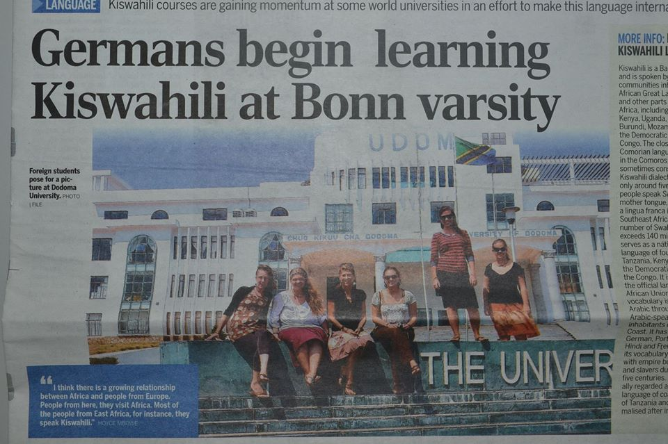 In a Tanzanian Newspaper yesterday, Swahili is taking over German varsities